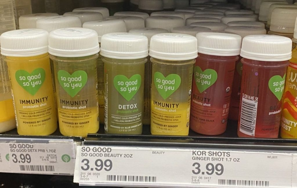 Store shelf filled with So Good Probiotic Shots