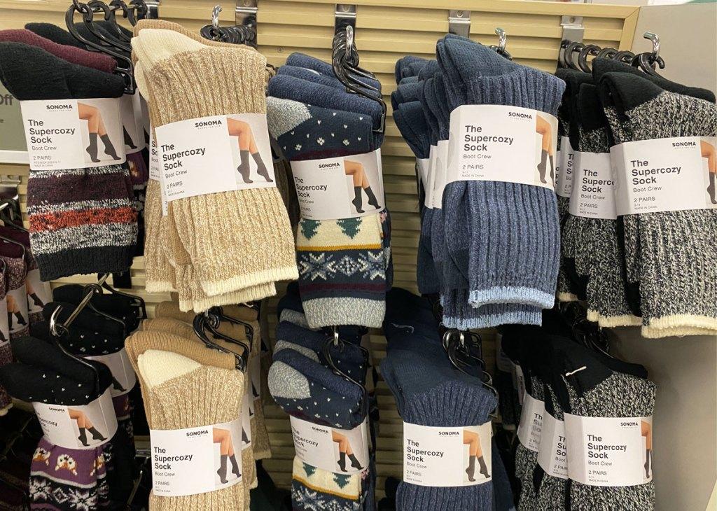 2-packs of sonoma goods for life women's crew boot socks hanging on display at kohl's