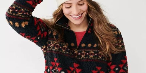 Women's & Juniors Sherpa Sweatshirts Only $12.74 on Kohls.com (Regularly $44) | Cozy Gift Idea
