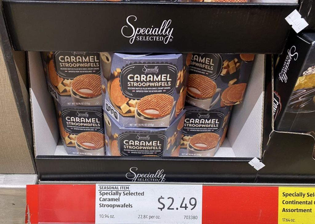 Specially selected stroopwafels on shelf at ALDI