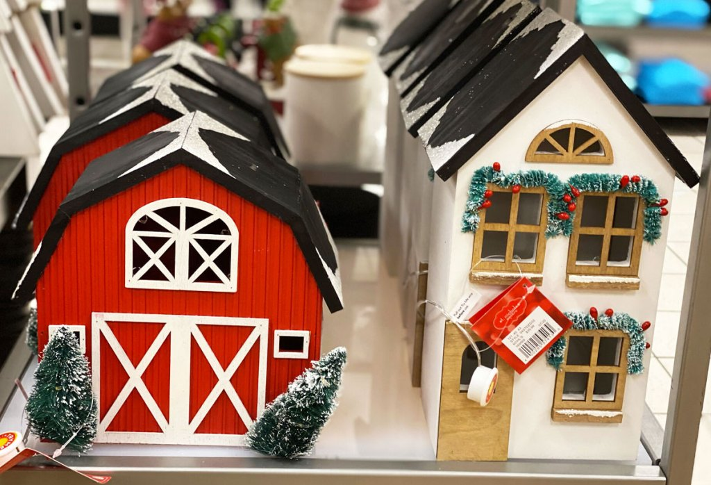 red barn and white house wooden christmas decor