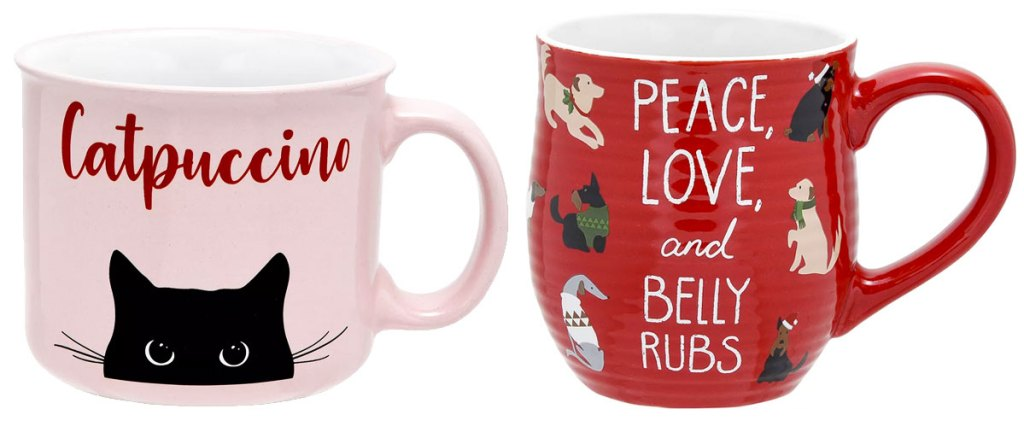 "pink coffee mug with black cat that says ""catpuccino"" and red mug with dogs that says ""peace, love, and belly rubs"""