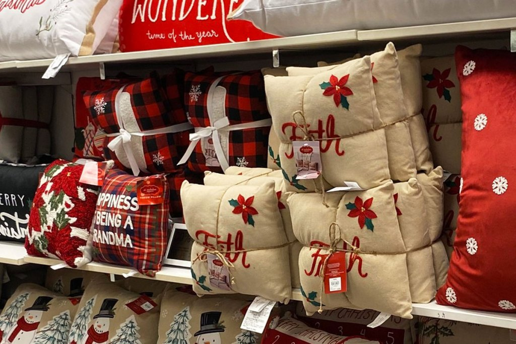 3-pack sets of christmas throw pillows on display at kohl's