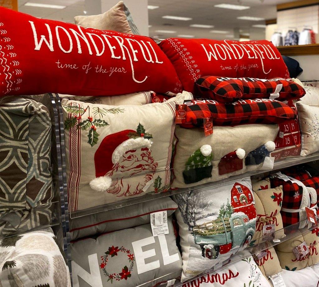 christmas theme throw pillows on display at kohl's