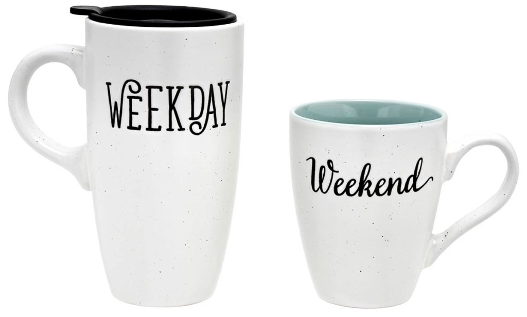 "white coffee mug set with large mug that says ""weekday"" and smaller mug that says ""weekend"""