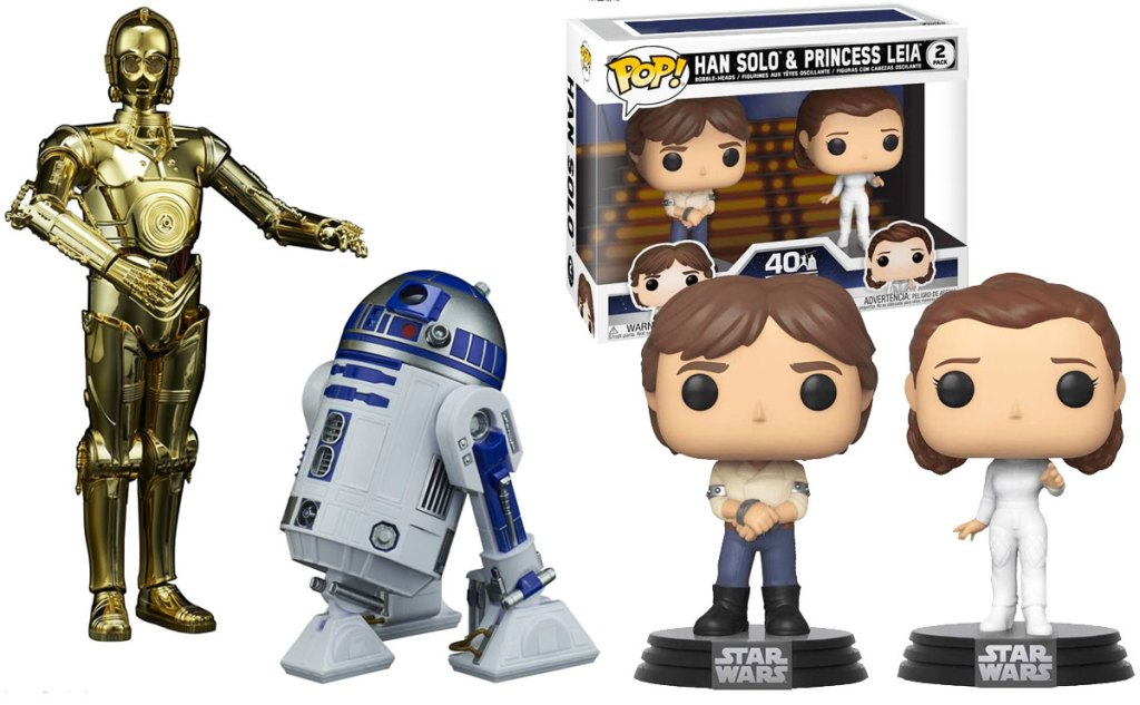 cp3o & r2d2 collectables set and funko pop han solo and princess leia set
