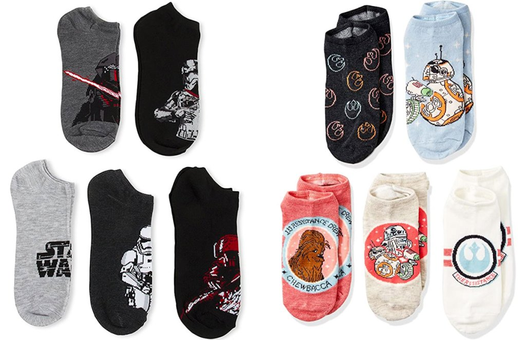 two five packs of mens and women's no show socks with star wars characters