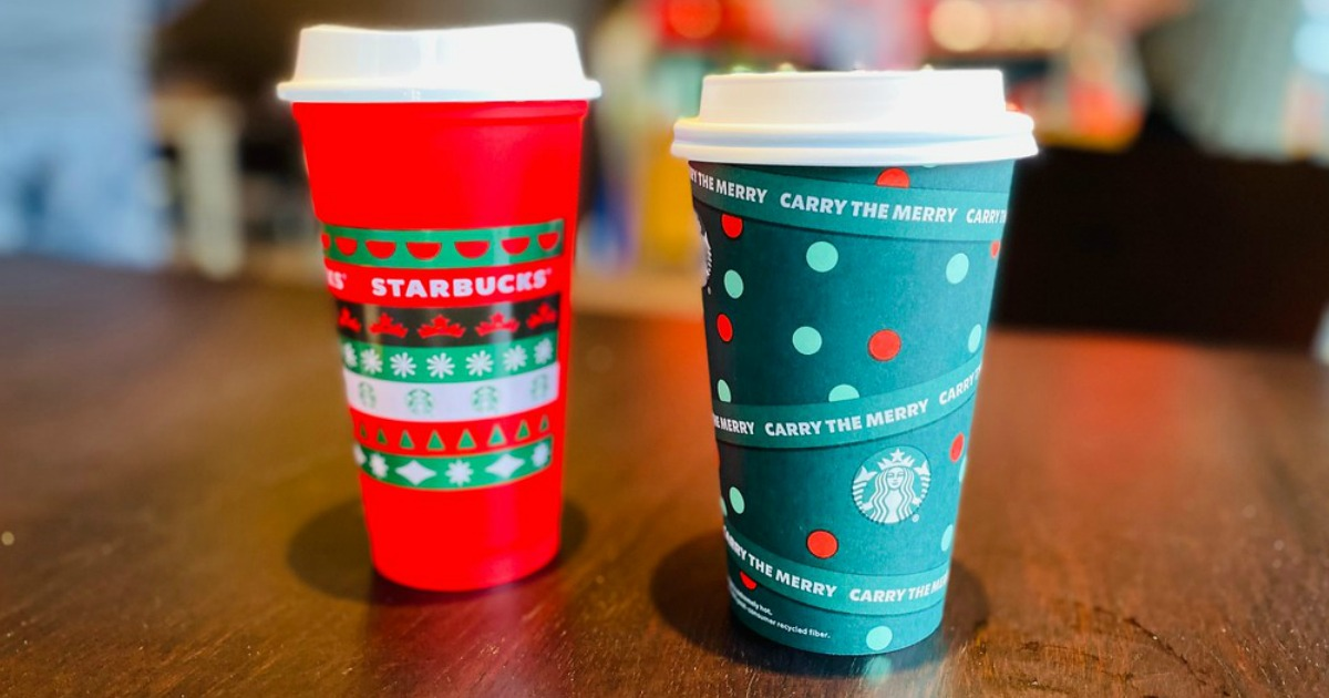 green and red Starbucks christmas cups