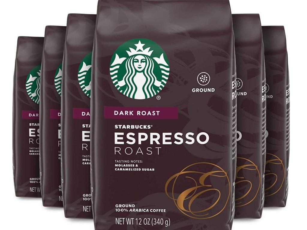 six bags of espresso dark roast ground coffee
