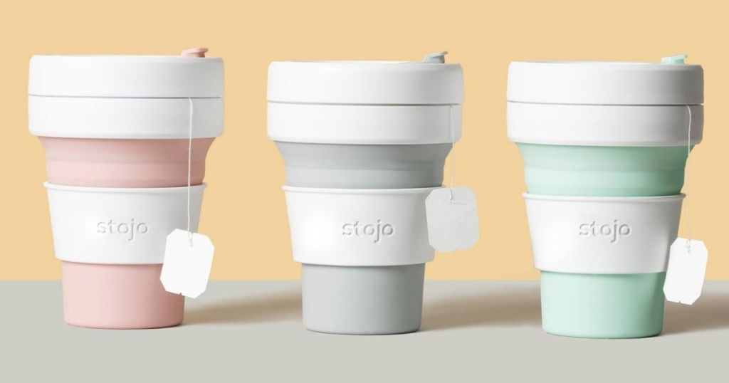 row of Stojo Collapsible coffee cups