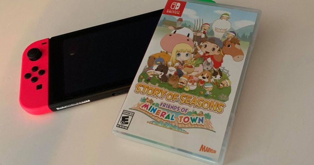 Story of Seasons Friends of Mineral Town game case on a Nintendo Switch