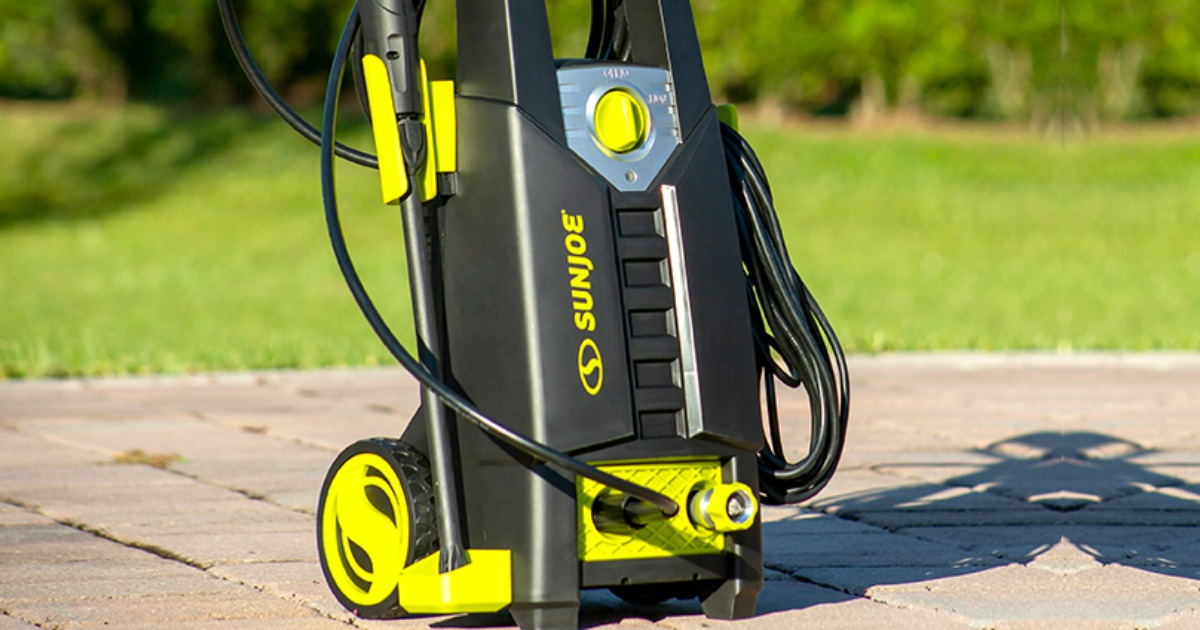 Large pressure washer on outdoor patio area