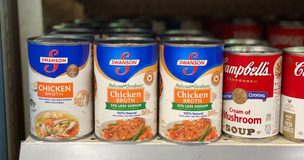 chicken broth on shelf