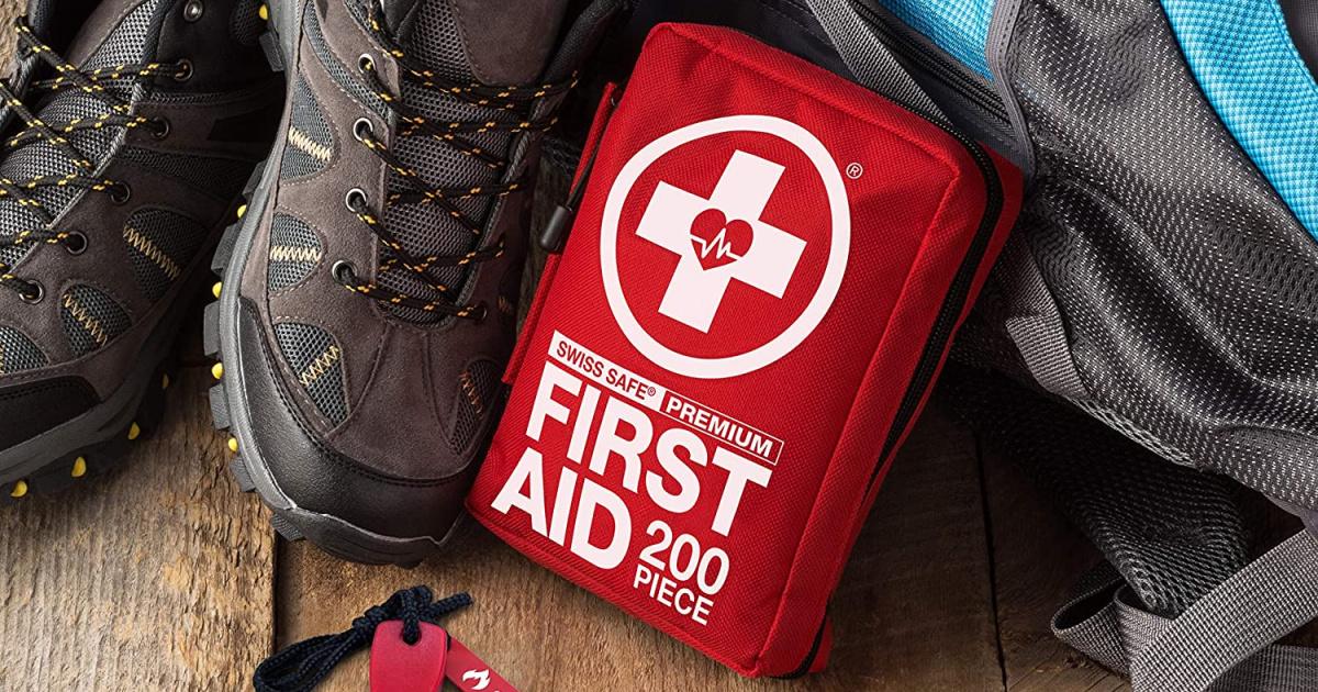First aid kit near hiking boots