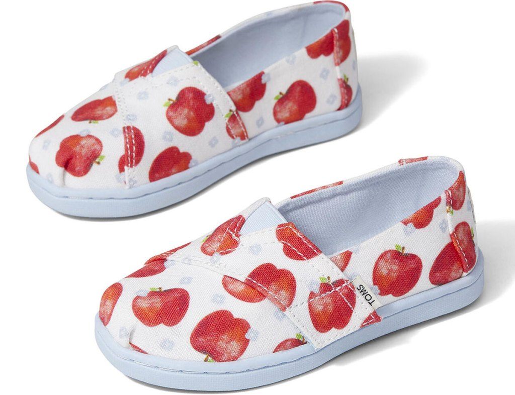 pair of kids tiny toms with red apple print
