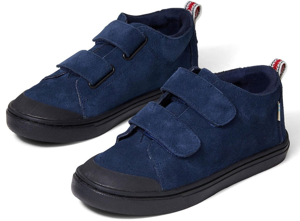 pair of navy blue sneakers with velcro closures