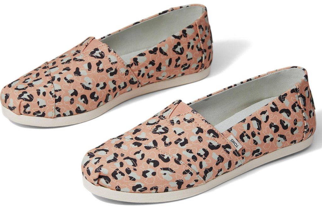 pair of light pink classic toms with cheetah print