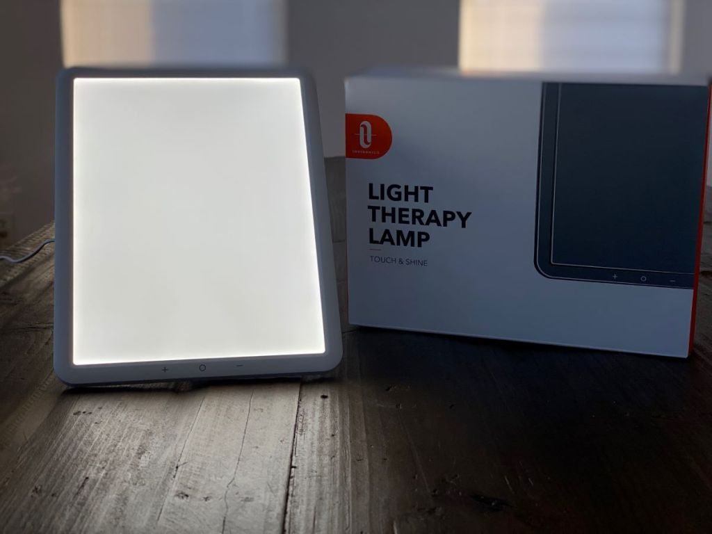 lamp next to a box