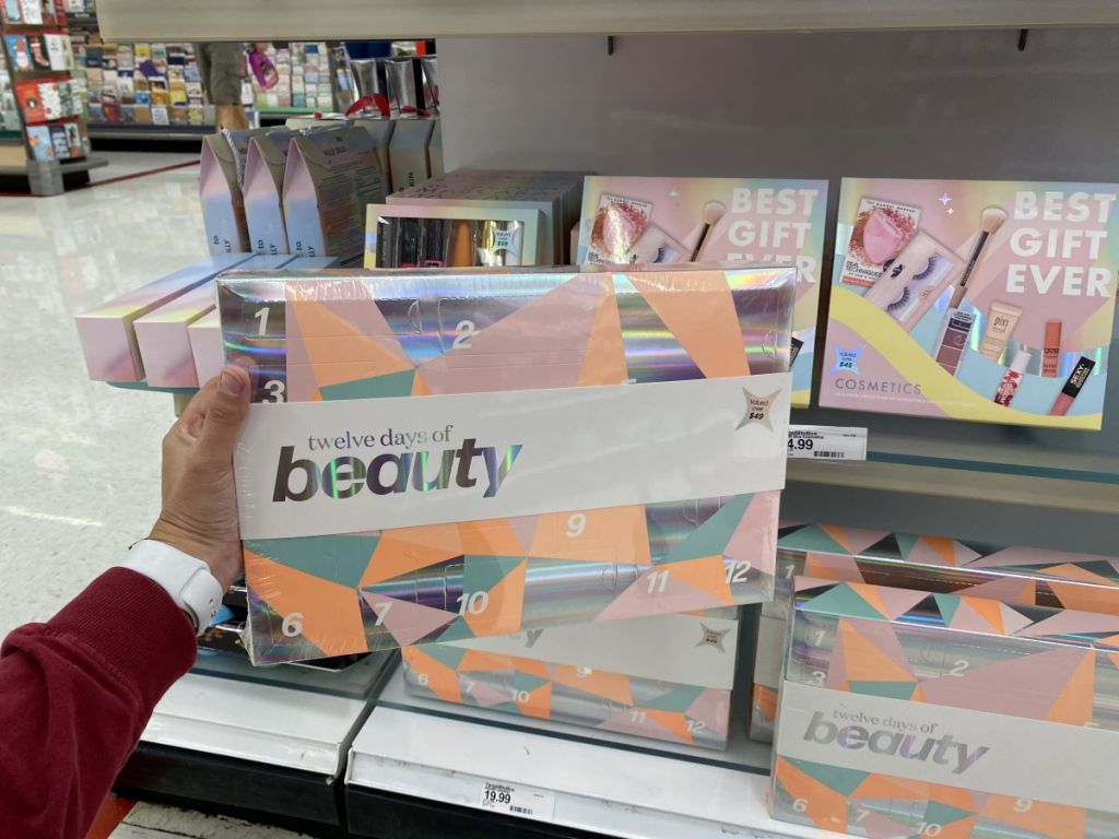 hand holding a Target Beauty advent calendar