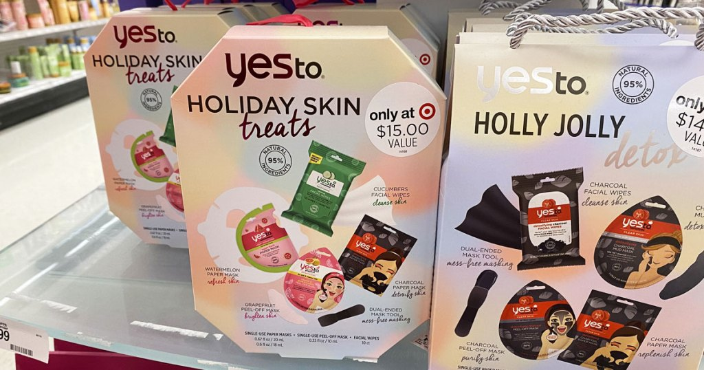 yes to skincare holiday gift sets on display at target