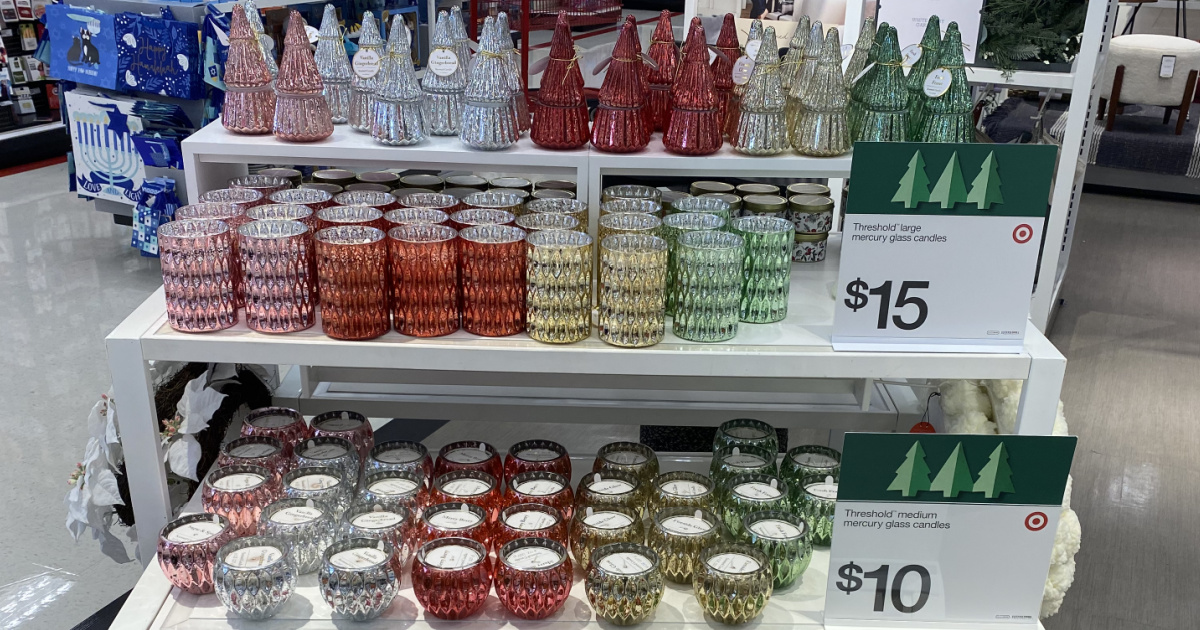 mercury glass candles on display on a store shelf