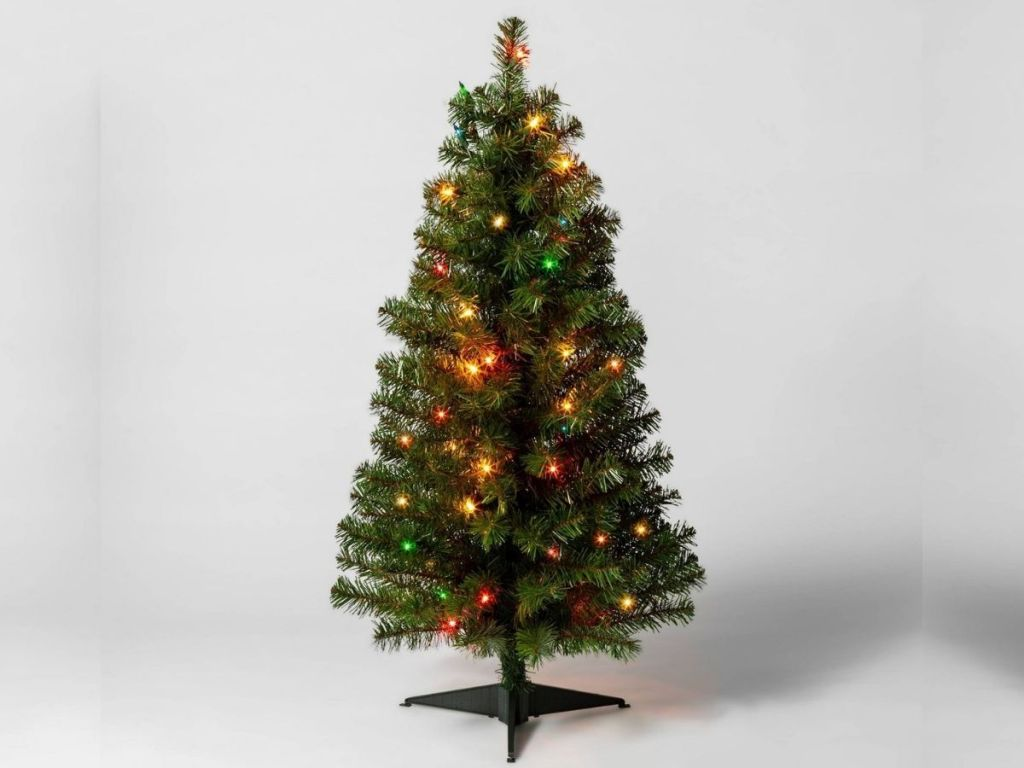 decorated Christmas tree with multicolored lights
