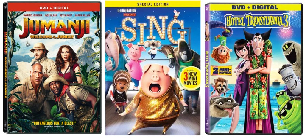DVD cases for Jumanji, Sing, and Hotel Transylvania 3