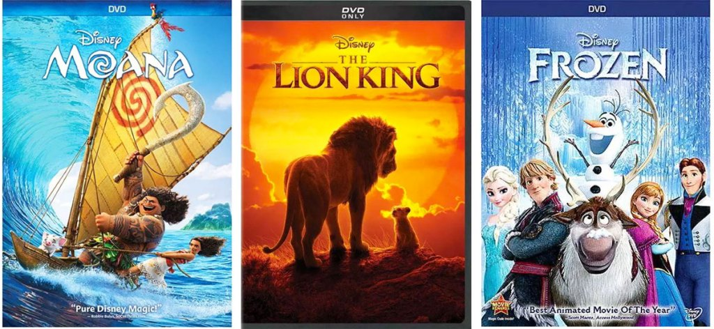 Dvd cases for Moana, The Lion King, and Frozen