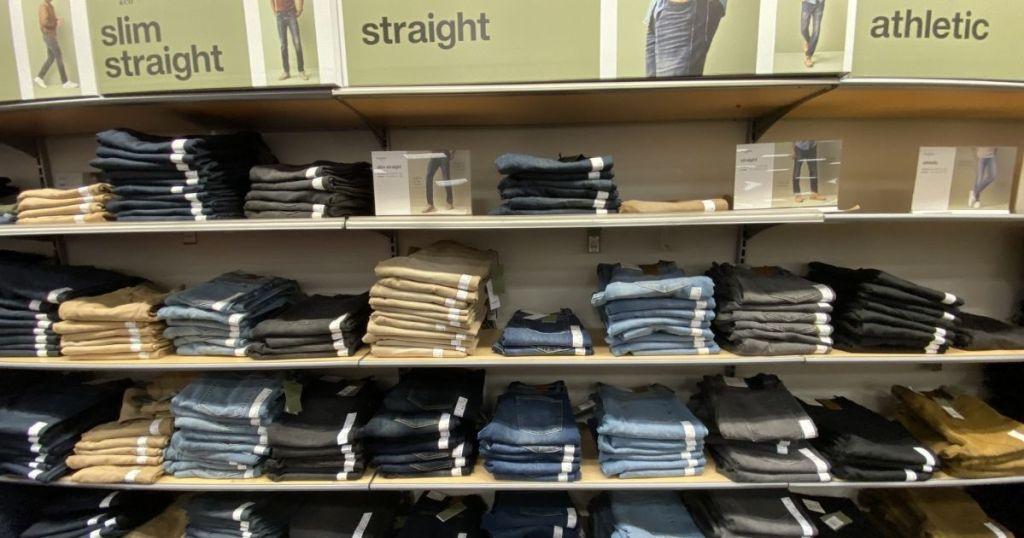 Pants on shelves