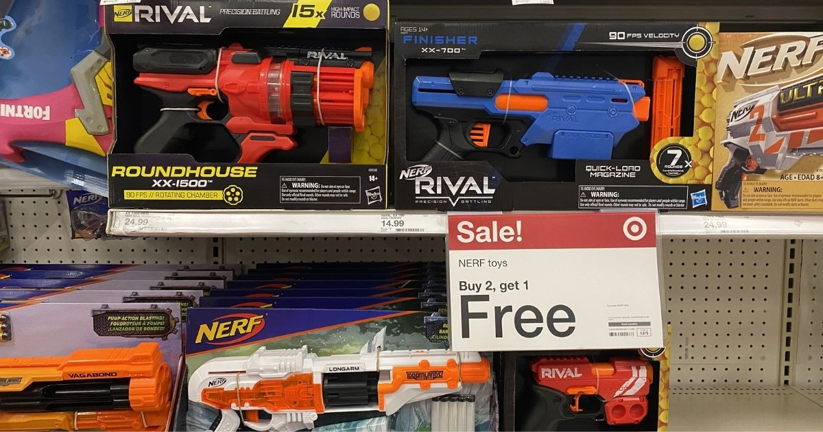 nerf guns on display in a target store