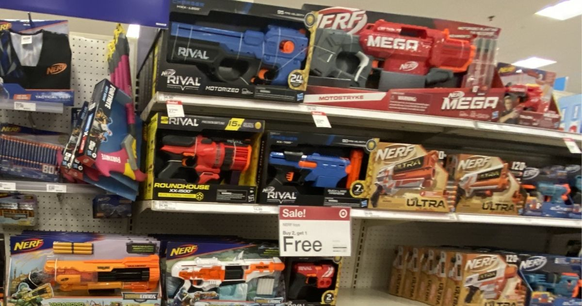 nerf guns on display in target store