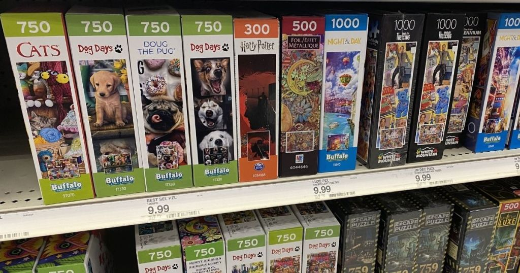 puzzles on the shelf at Target