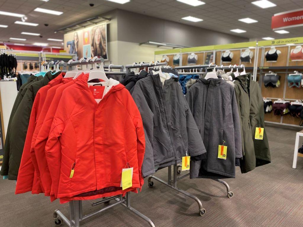 display of jackets at Target