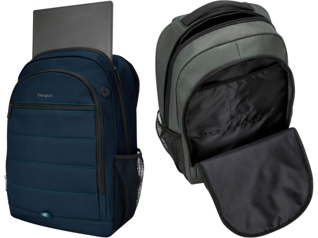blue Targus backpack with top opened revealing laptop and green Targus backpack with front pouch opened