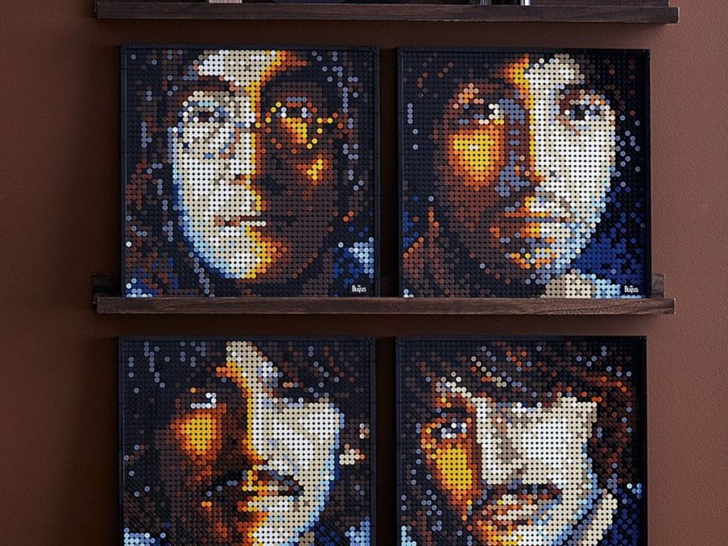 The Beatles lego art of wood shelf