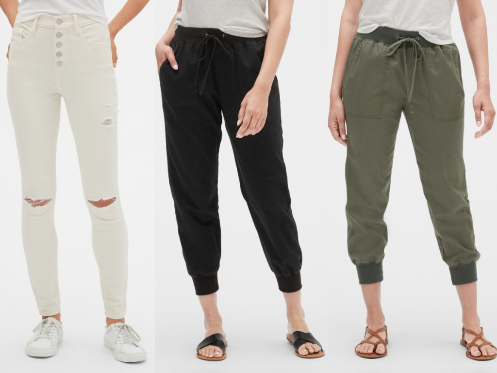 woman in white jeans, woman in black joggers, and woman in green joggers