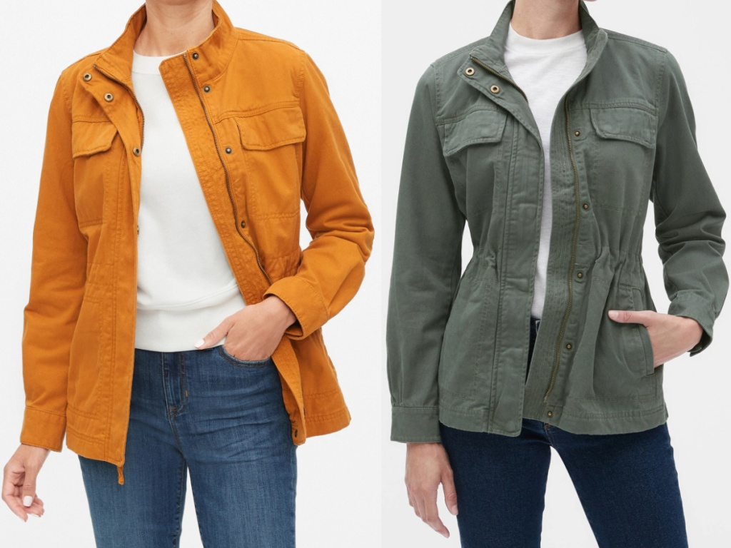 woman in brown/orange jacket and woman in green jacket