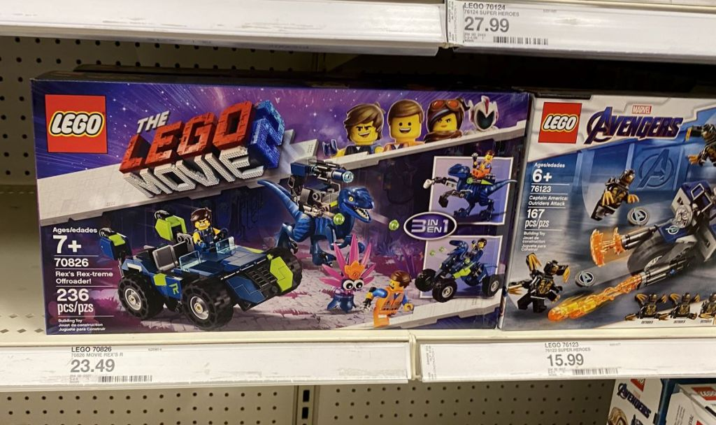 LEGO sets on a shelf at Target
