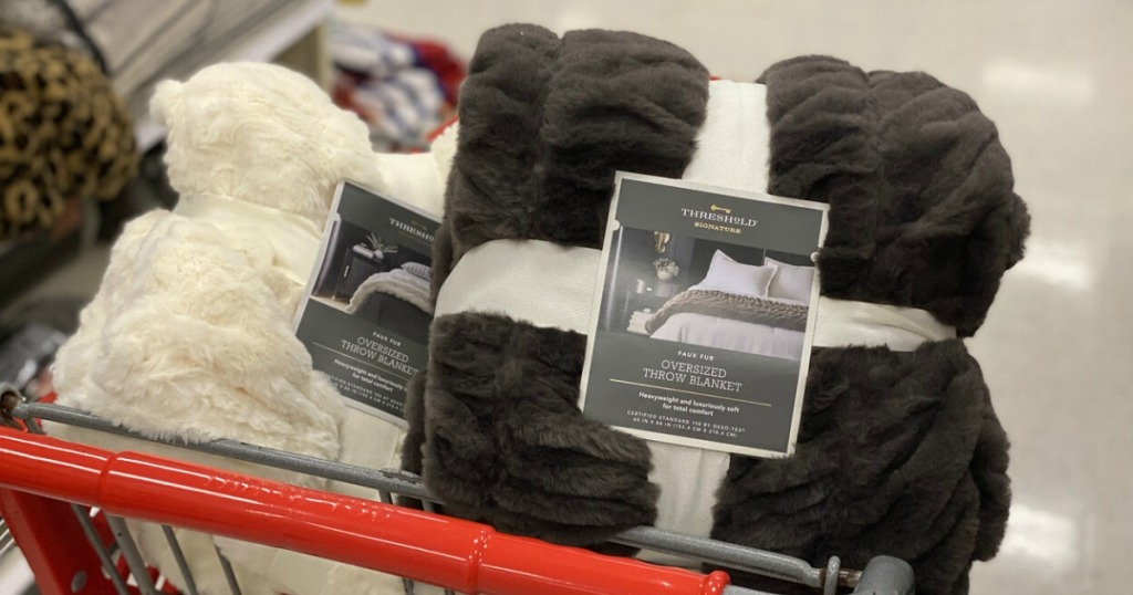 Threshold Faux Fur Oversized Throw Blankets in Target cart