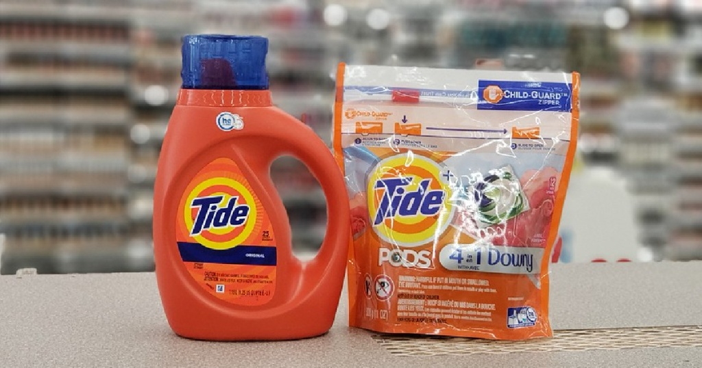 Tide Liquid Detergent and Tide PODS in store