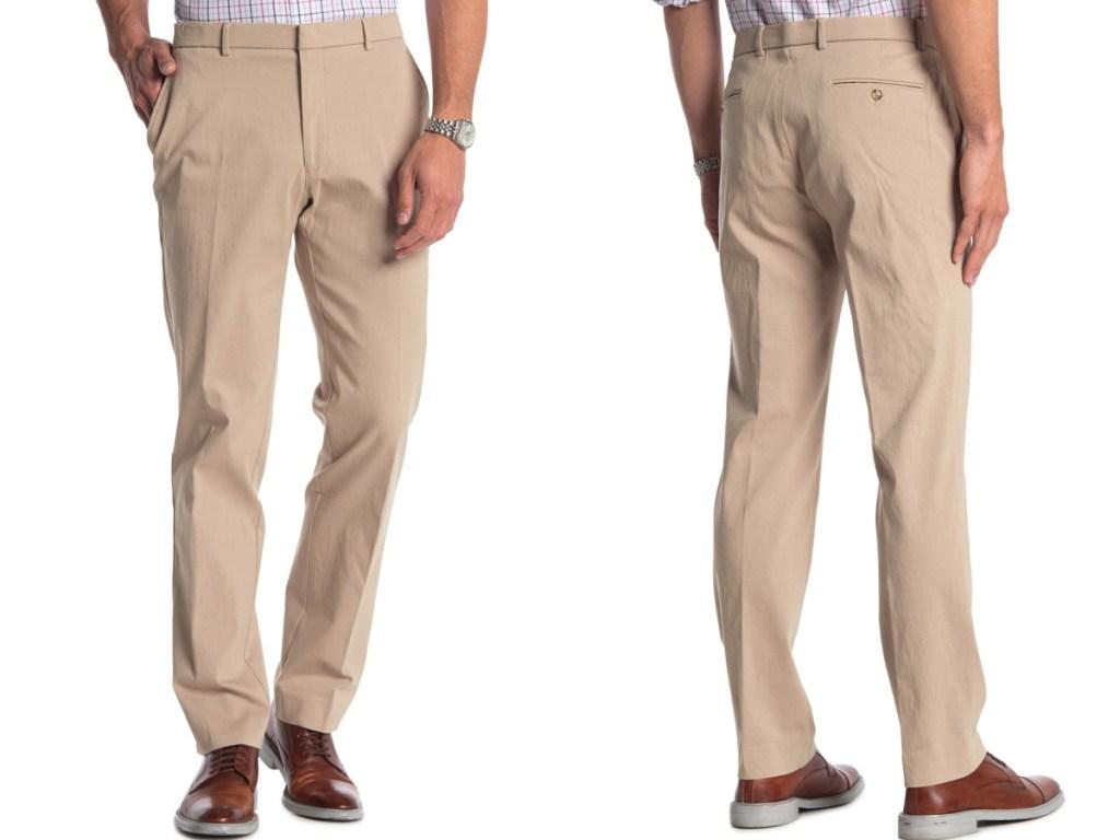 man in tan suit pants