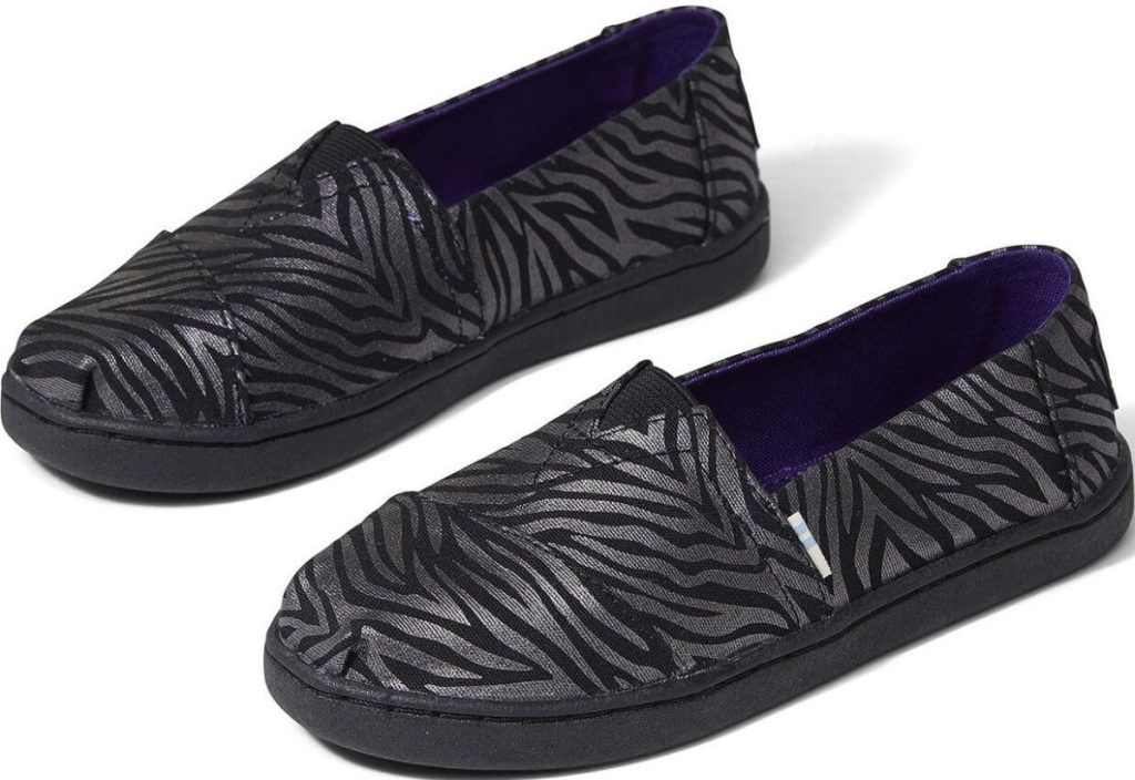 Toms youth Shimmer Zebra Alpargata Shoes