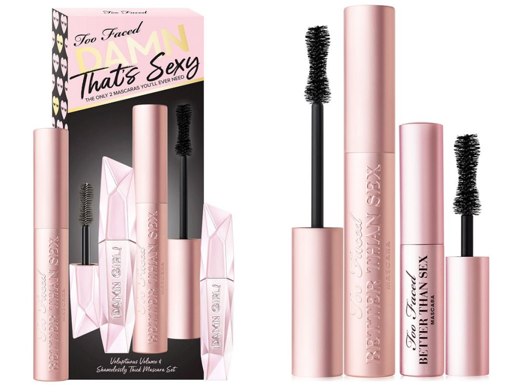 too faced better than sex full size mascara sets each with a travel size tube of mascara