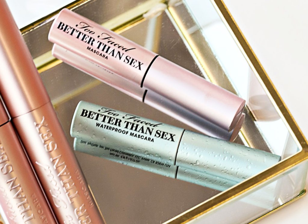 two mini too faced mascaras in a glass box