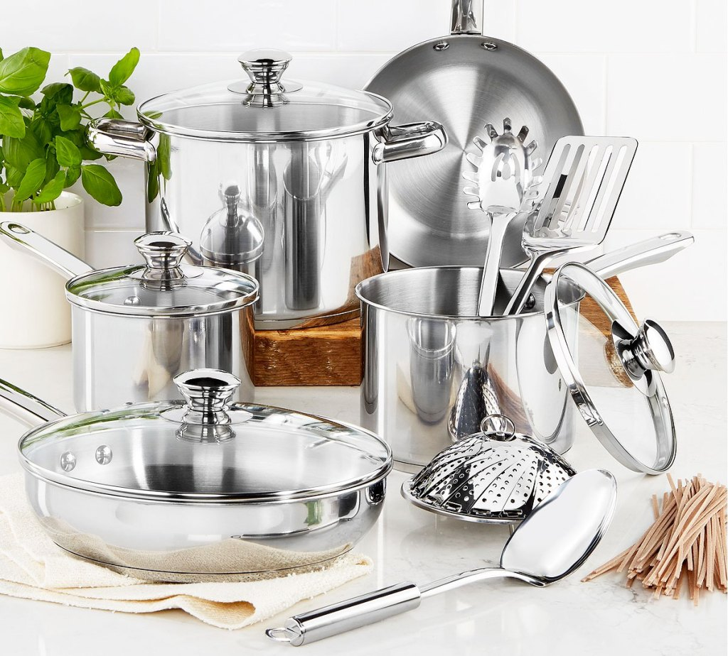 13 piece stainless steel cookware set on a kitchen counter