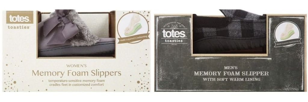 Totes Men's and Women's Slippers in shoeboxes