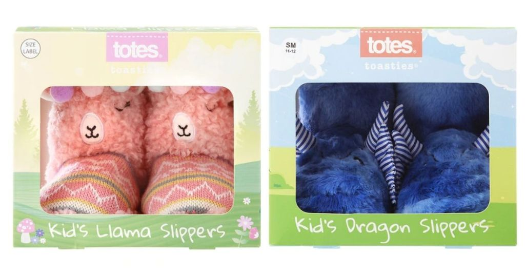 Totes kids Slippers - Llama and Dragon in boxes