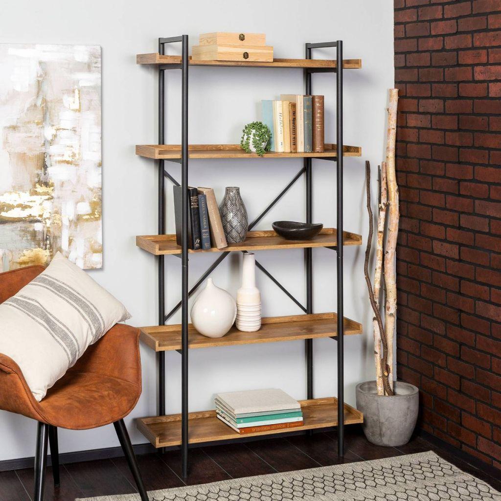 bookshelf with vases on it