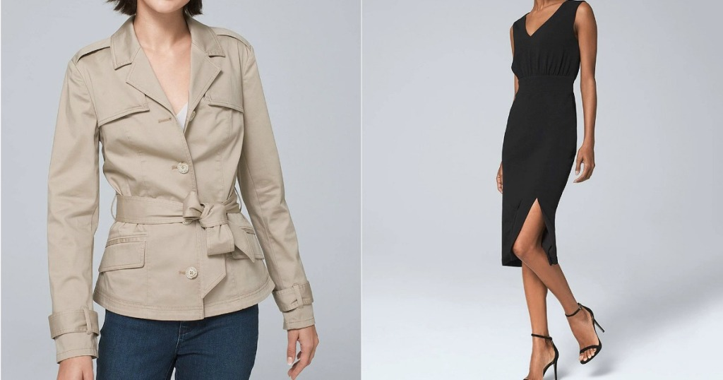 Trench Coat and Blouson Sheath Dress from White House Black Market