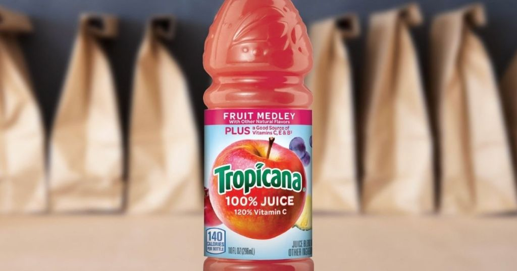 Tropicana Fruit Medley juice by lunch bags